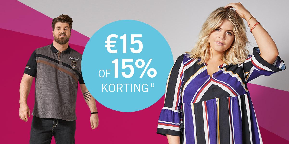 15% of €15 korting<sup>1)</sup> speciaal voor jou